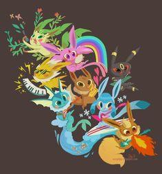 Super Cute Eevee Evolution Illustration Evolutions Pokemon Nintendo Stuff