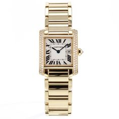 Women's Cartier Tank Francaise WE1002SF 18k Solid Yellow Gold Watch W/ Diamonds
