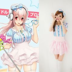 New hot Women's Girls Super Sonico Cosplay Costumes Maid uniform Anime Blue pink stripes Sexy Waist lolita skirt+Jacket+Headwear #Affiliate