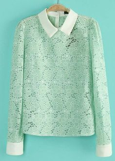 Green Contrast Lapel Long Sleeve Lace Blouse US$33.61