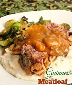 Instant Pot Guinness Meatloaf with Mushroom Gravy is true comfort. Guinness Beer flavors a hearty meatloaf studded with carrots, onions and celery, topped with french fried onions and served with a creamy mushroom gravy for an amazing dinner. #instantpot #meatloaf
