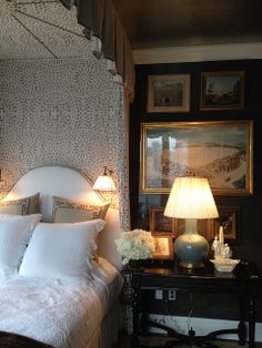 I LOVE the effect of the curtain behind the bed.  Just gorgeous.