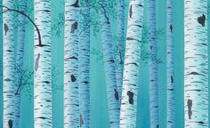 Birch tree painting Giclee art print Teal blue by ArtFromDenise