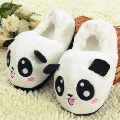 New Women Girls Cute Panda Warm Soft Plush Indoor Home Slippers