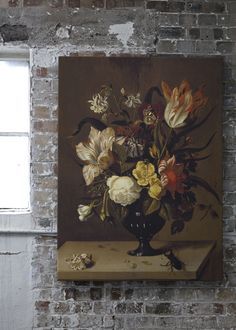 'A Vase of Flowers with a Beetle' Canvas - Ashmolean Museum Collection | Shop Cushions & bespoke Wall Murals at surfaceview.co.uk