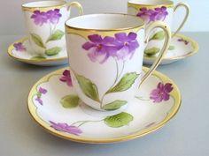 Vintage Nippon cup and saucer set, handpainted violets