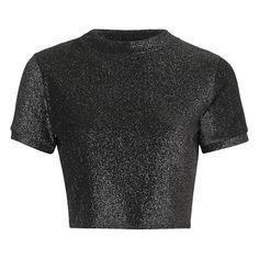 Women's Topshop Metallic Short Sleeve Crop Tee ($19) ❤ liked on Polyvore featuring tops, t-shirts, crop top, crop t shirt, topshop tops, metallic t shirt and metallic top