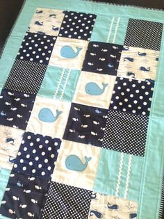 RESERVE for Sarah Barras .Whale Baby Boy Crib Quilt-ready to ship. $160.00, via Etsy.
