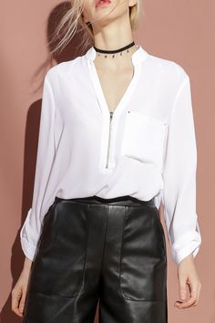 Bootyjeans White Front Zippered Chiffon Blouse | Blouses at DEZZAL