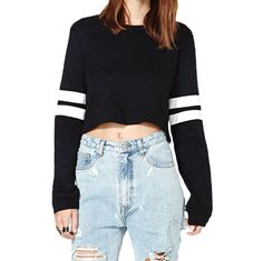New Fashion Women Crop Top PU Leather Long Sleeve Crew Neck Casual Loose Pullover Sweatshirt Black/White