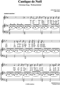 Cantique de Noël - Christmas Song - Weihnachtslied Adolphe Adam (1803-1856) Noten für Gesang und Klavier zum downloaden, herunterladen und speichern Sopran, Alt, Tenor, Bariton, Bass Solos und Duette für Sänger Einzelausgabe Klavierauszug solo >>> KLICK auf die Noten um Reinzuhören <<<