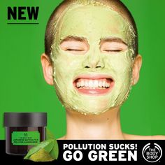 Go Green! Our NEW 100% vegan Japanese Matcha Tea Pollution Clearing Mask purifies and de-clogs for smooth skin!