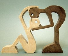 """sculpture bois chantourné """"couple à 2"""""""