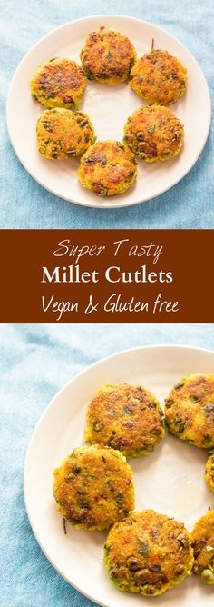 Vegan shallow fried cutlets made from foxtail millet, mix vegetables and spices…