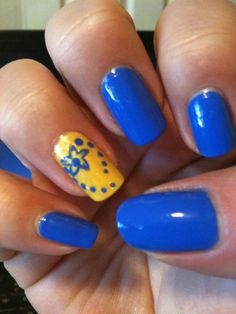 Blue and Yellow Nails