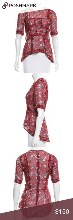 Floral Silk Veronica Beard Blouse Beautiful, sheer red silk with delicate pleats at chest and elegant floral pattern throughout. Hi-low hemline. Zips up back. Like new condition. See measurements in photos. Ask questions, make offers! Most true colors shown in first 3 pics. Lighting in my house is a bit dim and makes the top look darker Veronica Beard Tops Blouses