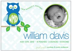 Owl baby announcement