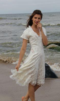 White handmade dress. Made from silk and merino wool.