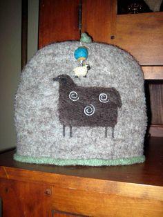 seamless/no-sew 'resist' felting: sheep tea cozy