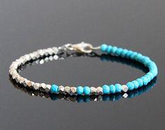 Genuina pulsera turquesa - turquesa pulsera, Seed Bead Bracelet, turquesa pulsera de plata, Birthstone diciembre, pulsera de piedra