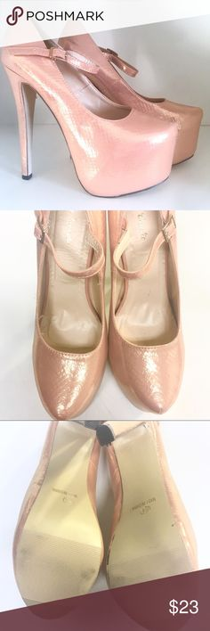 Eye Candie Rose Gold Metallic Mermaid Heels Worn only once. Has ankle strap and metallic shine. Only flaw is a scuff on the inside of the left shoe.  aldo, shimmery, metallic, peach, sexy, summer, tan Eye Candie Shoes Heels
