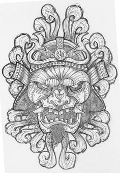 朗報経由の Chris ハネウェル社によってサムライ Rockaganda アート プリント 12724 タトゥー