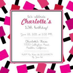 Spa Party Girls Birthday Party Invitations