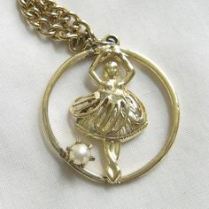 Vintage Girls Ballerina Pendant Necklace with a by MyVintageJewels, $10.00