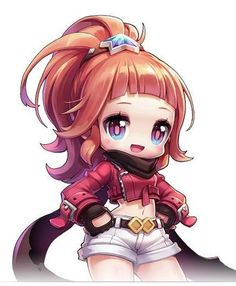 MapleStory 2 Illustrations (unknown characters) and the Mika figurine. Kawaii Chibi, Cute Chibi, Anime Chibi, Anime Manga, Anime Art, Character Design Girl, Character Concept, Character Ideas, Maplestory 2