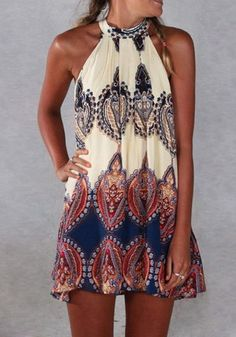 Model in baroque printed shift dress