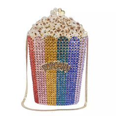 Retro and kitsch popcorn crystal clutch, Fun crystal clutch, Party clutch – Purses And Gandbags Organization Bling Purses, Cute Purses, Fall Handbags, Purses And Handbags, Backpack Handbags, Clutch Handbags, Kitsch, Popcorn, Novelty Bags