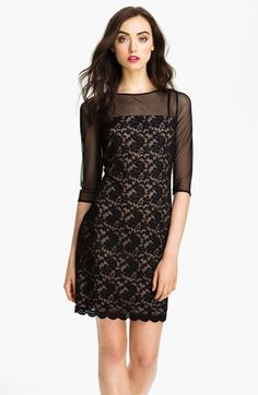 Adrianna Papell Illusion Yoke Lace & Mesh Dress available at #Nordstrom by Jennifer O. Pineda