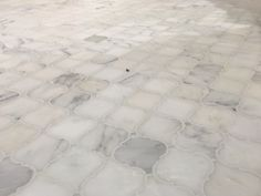 Carrera marble arabesque mosaic tile bathroom floor