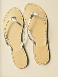 bbe19128d22e J. Crew Rio Flip Flop Sandals Leather Silver Metallic Sliders