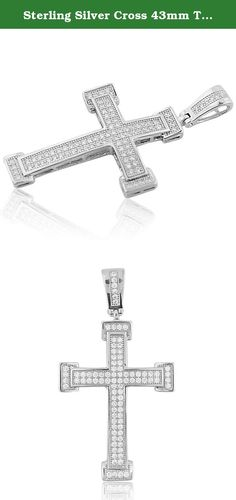 Sterling Silver Cross 43mm Tall Pave Set CZ Mens Cross Charm. Sterling Silver Cross 43mm Tall Pave Set CZ Mens Cross Charm Item Type: Fashion Pendant/ Charm, Metal Type: 925 Sterling-silver Gem Type: Cubic-zarcons for mens Trendy and Fashion Hip hop Jewelry for men in Sterling silver With Pave Set CZ Ships within 24 hours, signature required on delivery Beautiful gift box is included Images are enlarged to show product details, all measurements are approximate values.