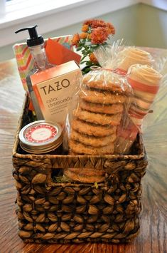 Welcome Basket ideas. Combining homemade and store-bought items into a thoughtful gift basket.