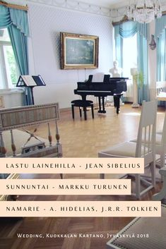 Program: Lastu lainehilla - Jean Sibelius, Sunnuntai - Markku Turunen, Namarie - Aijin Hidelias, J.R.R. Tolkien Soundtrack Music, Dining Bench, Entryway Tables, Singer, Jean, Tolkien, Furniture, Celebrations, Weddings