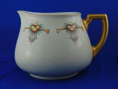 "William Guerin & Co. (WG&Co.) Limoges Art Deco Fruit Motif Cider/Lemonade Pitcher (Signed ""Mildred Johnson St. Luke's Studio, Oldenburg, Ind./Dated 1920)"