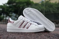 Ladies Adidas Superstar 3d White Stripe Pink Sneakers - Click Image to Close