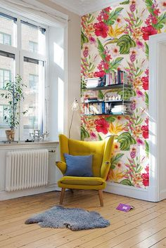 Exotische Blumen abnehmbarer Wallpaper traditionell rot ideen wandgestaltung farbe rot Exotic floral removable Wallpaper - traditional - red Print wall mural - Self Adhesive Wall Decal - Temporary Peel and Stick Boho Living Room, Living Room Decor, Bedroom Decor, Wall Decor, Flores Wallpaper, Vinyl Wallpaper, Photo Wallpaper, Mural Floral, Floral Wall