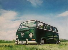 """Green Camper, oil on canvas 12""""9""""."""