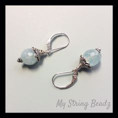 """Lagoon Drops....are part of my Simply Switch System and are created with lovely pale blue agates and sterling silver bead caps (may vary slightly from photo). Purchase these earring drops with or without the sterling silver interchangeable ear wires. Perfect pair of """"go to"""" earrings!"""