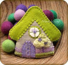 Casita verde, via Flickr.Casita little green purple house little girls handmade gift felt applique embroider