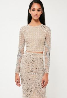 10b9d094471c9 Peace + Love Silver Embellished Crop Top Embellished Crop Top, Sequin Top,  New Years