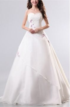 White Cinderella Outdoor Sweetheart Sleeveless Organza Floor Length Long Bridal Gowns