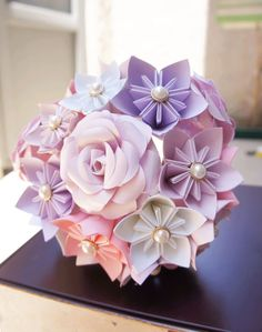 Paper Kusudama Rose Flower Wedding Bouquet  that is eco-friendly. Plus your wedding flowers will last you a lifetime!