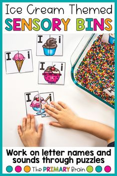 Ice cream themed sensory bins are a great preschool activity for ice cream week. Just fill a bin with sprinkles and add letter puzzles to work on the letter I is for ice cream. Children love hands-on activities and sensory play, and this is awesome for brain development in children. Have fun learning letter names and letter sounds with this colorful sensory bin! Lesson Plans For Toddlers, Preschool Lesson Plans, Preschool Letters, Learning Letters, Fun Learning, Preschool Themes, Letter Sound Activities, Hands On Activities, Kindergarten Activities