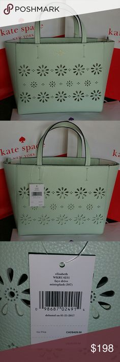 "🆕NWT Kate Spade Faye Drive Elisabeth Beautiful Kate Spade Faye Drive Elisabeth leather tote satchel in mintsplash color, with die cut lacey flowers. Perfect for summer. NWT Approximate measurements are 14""L x 10""H x 4""W, 5"" handle drop. Gold plate hardware, comes with crossbody strap. Zipper top, inside side pocket. kate spade Bags Satchels"