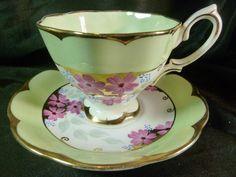 Crown Royal Albert Tea Cup and Saucer HP Pink Floral Soft Mint Gold Vintage | eBay