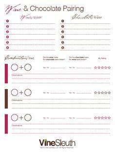 FREE PRINTABLE Wine & Chocolate Pairing Chart  http://vinesleuth.com/uncorked/wine-and-chocolate-pairing-chart/